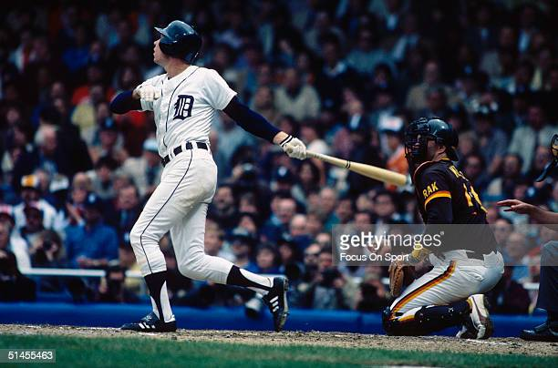 Alan Trammell of the Detroit Tigers fouls one off during the World Series against the San Diego Padres at Tiger Stadium in October 1984 in Detroit...