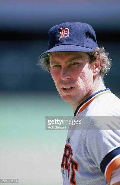 Alan Trammell of the Detroit Tigers looks on during a game in the 1986 season against the California Angels at Anaheim Stadium in Anaheim California