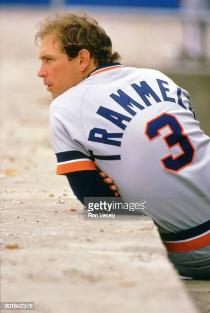 Alan Trammell of the Detroit Tigers looks on during an MLB game versus the Chicago White Sox at Comiskey Park in Chicago Illinois during the 1987...