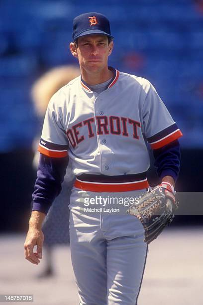Alan Trammell of the Detroit Tigers plays catch before a baseball game against the Baltimore Orioles on April 15 1990 at Memorial Stadium in...