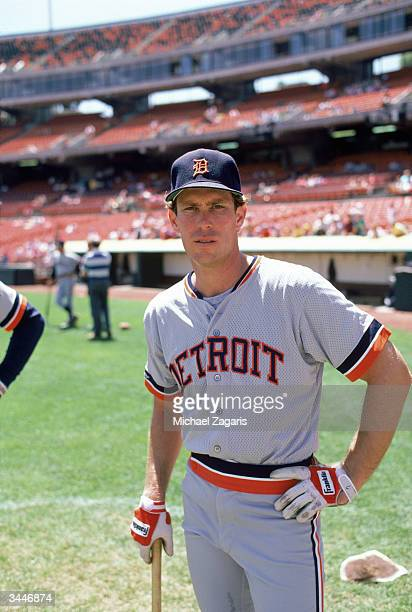 Alan Trammell of the Detroit Tigers poses during practice prior to a game against the Oakland Athletics on May 3 1987 at Oakland Alameda County...