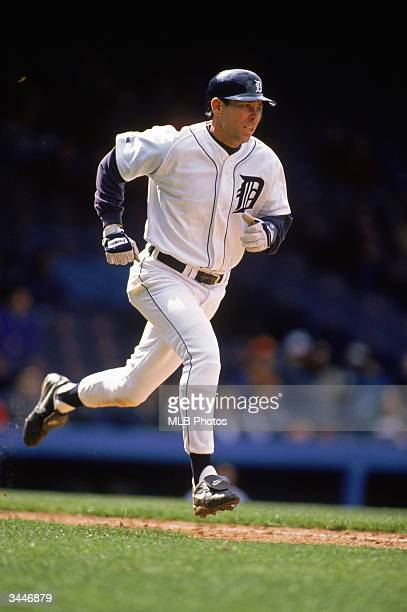 Alan Trammell of the Detroit Tigers runs to base during a game against the Minnesota Twins at Tiger Stadium on April 24 1996 in Detroit Michigan The...