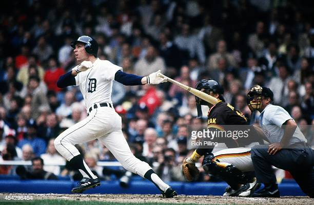 Alan Trammell of the Detroit Tigers Series MVP bats during World Series game three between the San Diego Padres and Detroit Tigers on October 12 1984...