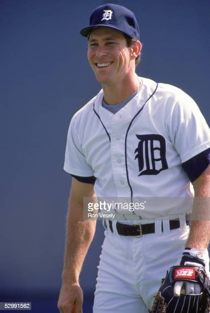 Alan Trammell of the Detroit Tigers smiles during an MLB game at Tiger Stadium in Detroit Michigan Alan Trammell played for the Detroit Tigers from...