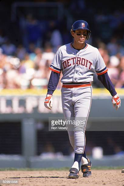 Alan Trammell of the Detroit Tigers stands on the basepath during an MLB game at Comiskey Park in Chicago Illinois Alan Trammell played for the...