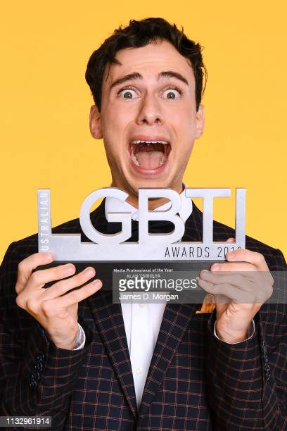 Alan Tsibulya poses with the Media Professional of the Year award at the 2019 Australian LGBTI Awards at The Star on March 01 2019 in Sydney Australia