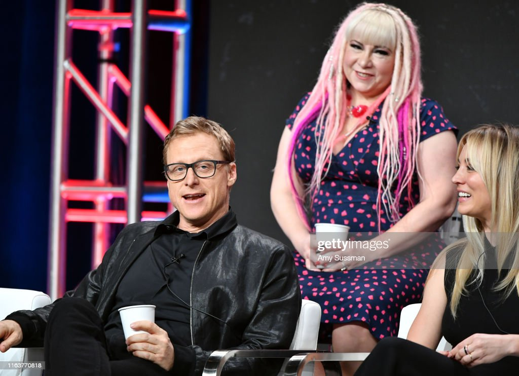 """Alan Tudyk, Jennifer Coyle, and Kaley Cuoco from """"Harley Quinn""""... News  Photo - Getty Images"""