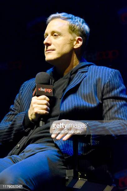 Alan Tudyk speaks onstage during SYFY's Resident Allen World Premiere Screening Panel at New York Comic Con 2019 Day 2 at Jacobs Javits Center on...