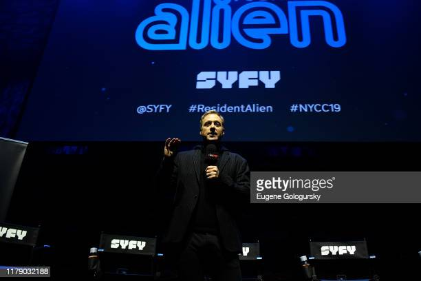 Alan Tudyk speaks onstage during SYFY's Resident Allen World Premiere Screening & Panel at New York Comic Con 2019 - Day 2 at Jacobs Javits Center on...