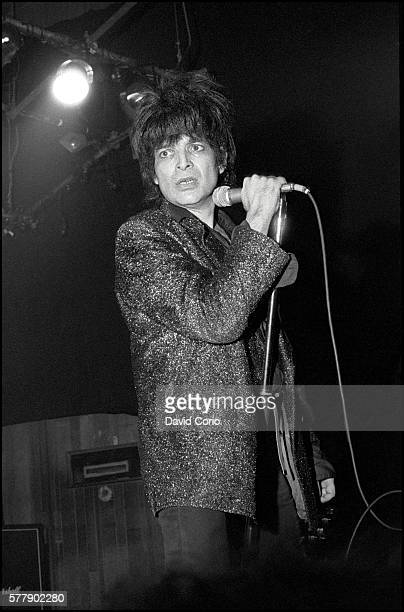 Alan Vega formerly of Suicide performing at The Venue, London, UK on 1 June 1982.