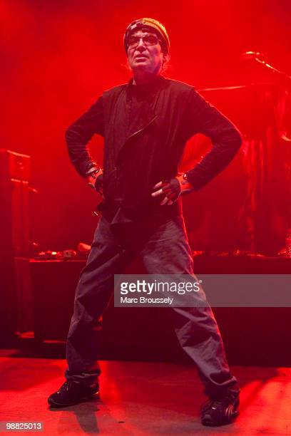 Alan Vega of Suicide perform on stage at Hammersmith Apollo on May 3 2010 in London England