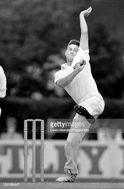 Alan Walker bowling for Northamptonshire circa 1990