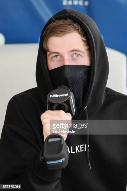 Alan Walker is interviewed at the event honoring Steve Aoki with a plaque for his single 'Just Hold On' at 1 Hotel Homes South Beach on March 23 2017...