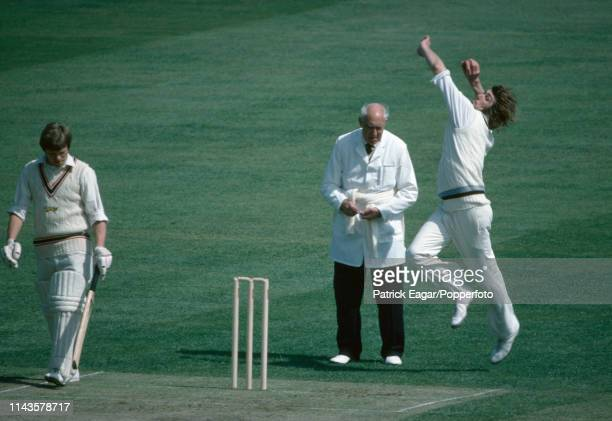 Alan Ward bowling for Derbyshire during the John Player League match between Leicestershire and Derbyshire at Grace Road Leicester 27th June 1976 The...
