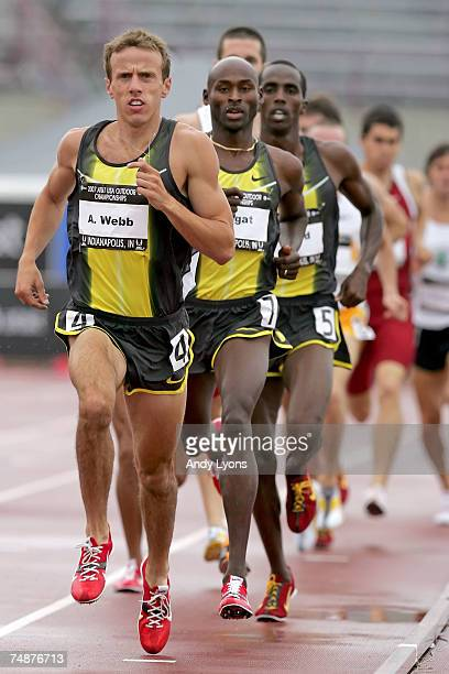Alan Webb and Bernard Lagat compete in the men's 1500 meter run during day four of the AT&T USA Outdoor Track and Field Championships at IU Michael...