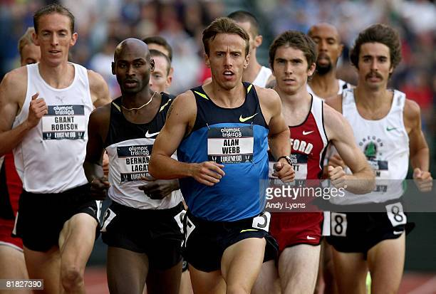 Alan Webb and Bernard Lagat compete in the men's 1,500 meter semi-finals during day six of the U.S. Track and Field Olympic Trials at Hayward Field...