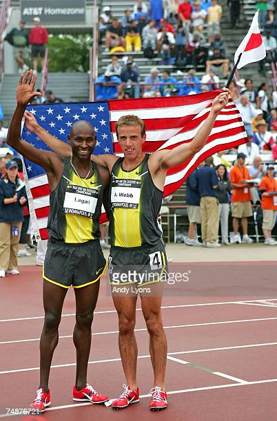 Alan Webb and Bernard Lagat wave to the crowd after Webb won the men's 1500 meter run during day four of the AT&T USA Outdoor Track and Field...