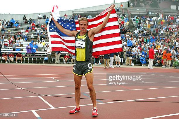 Alan Webb celebrates after winning the men's 1500 meter run during day four of the AT&T USA Outdoor Track and Field Championships at IU Michael A....