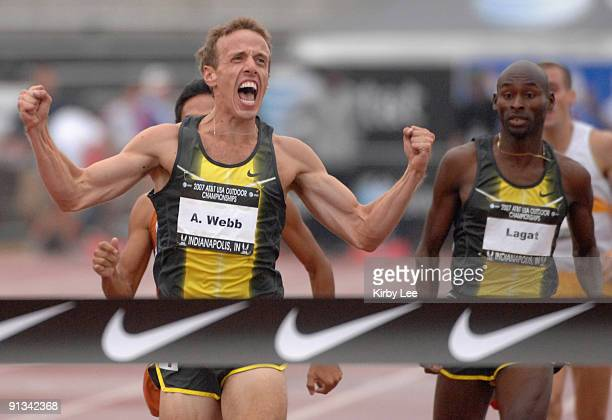 Alan Webb celebrates during meet-record victory of 3:34.82 in the 1,500 meters in the USA Track & Field Championships at Carroll Stadium in...