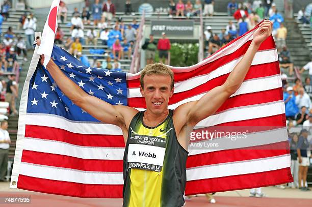 Alan Webb celebrates winning the men's 1500 meter run during day four of the AT&T USA Outdoor Track and Field Championships at IU Michael A. Carroll...