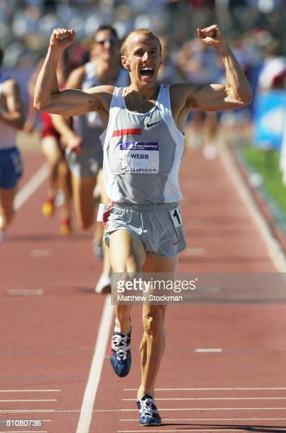 Alan Webb celebrates winning the men's 1500 meter run final during the U.S. Olympic Team Track & Field Trials on July 18, 2004 at the Alex G. Spanos...