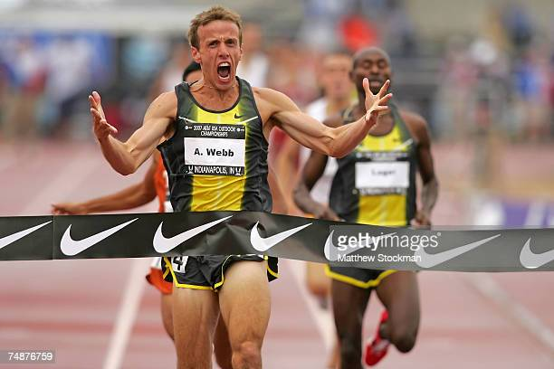 Alan Webb celebrates winning the men's 1500 meter run over Bernard Lagat during day four of the AT&T USA Outdoor Track and Field Championships at IU...