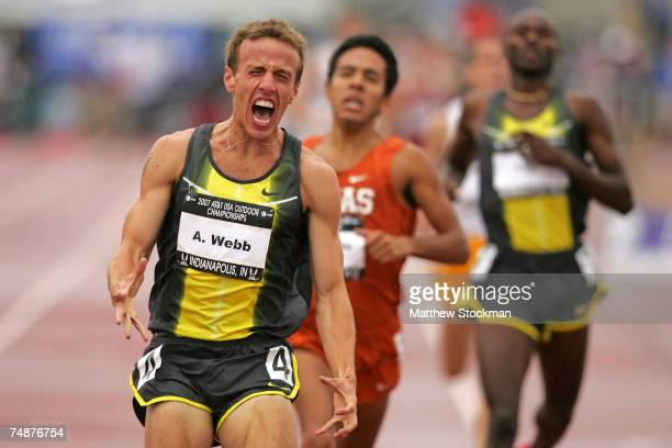 Alan Webb celebrates winning the men's 1500 meter run over Leonel Manzano and Bernard Lagat during day four of the AT&T USA Outdoor Track and Field...