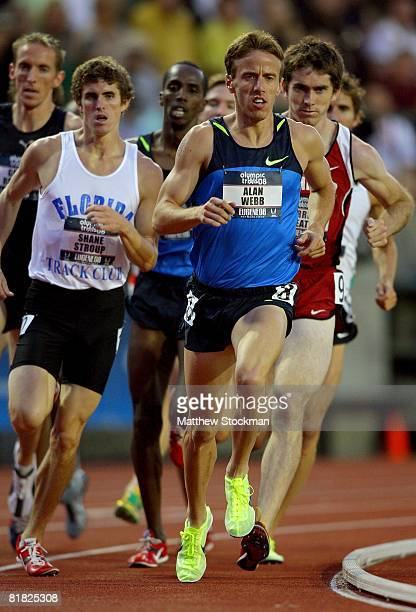 Alan Webb competes in the men's 1,500 meter heats during day five of the U.S. Track and Field Olympic Trials at Hayward Field on July 3, 2008 in...