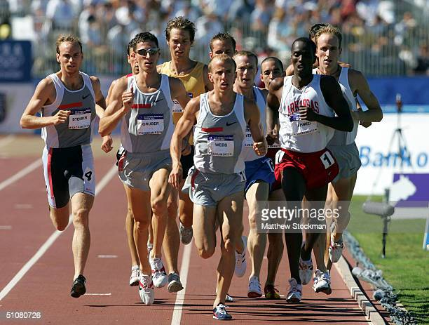 Alan Webb competes in the men's 1500 Meter Run Final during the U.S. Olympic Team Track & Field Trials on July 18, 2004 at the Alex G. Spanos Sports...