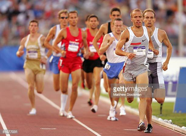 Alan Webb competes in the men's 1500 Meter Run Semifinals during the U.S. Olympic Team Track & Field Trials on July 16, 2004 at the Alex G. Spanos...