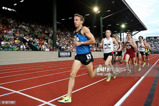 Alan Webb competes in the men's 1,500 meter semi-finals during day six of the U.S. Track and Field Olympic Trials at Hayward Field on July 4, 2008 in...