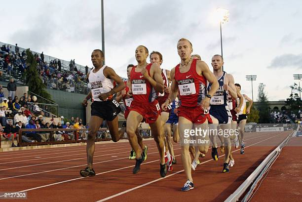 Alan Webb leads the Men's 1500m prelims during the USA Outdoor Track and Field Championships on June 20, 2003 at Cobb Track and Angell Field at...
