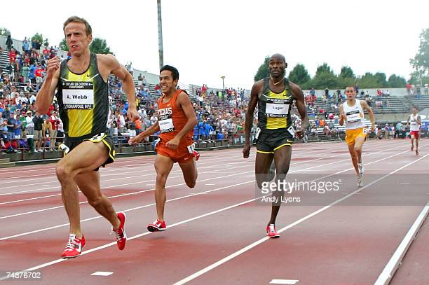 Alan Webb, Leonel Manzano and Bernard Lagat compete in the men's 1500 meter run during day four of the AT&T USA Outdoor Track and Field Championships...