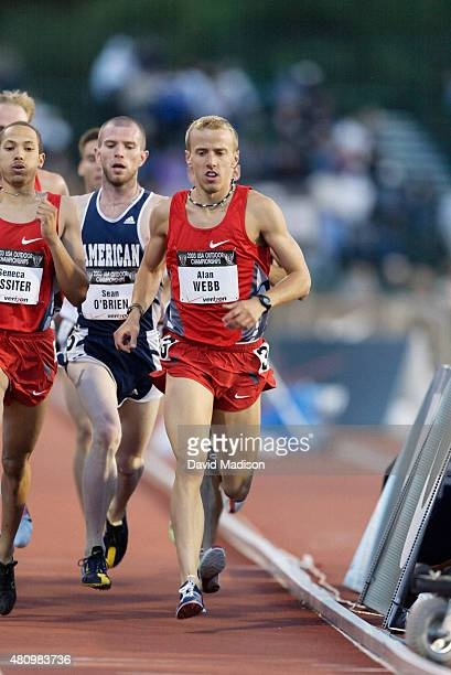 Alan Webb of the USA competes in a heat of the Men's 1500 meter event at the 2003 USA Track and Field Outdoor Championships on June 20, 2003 at...