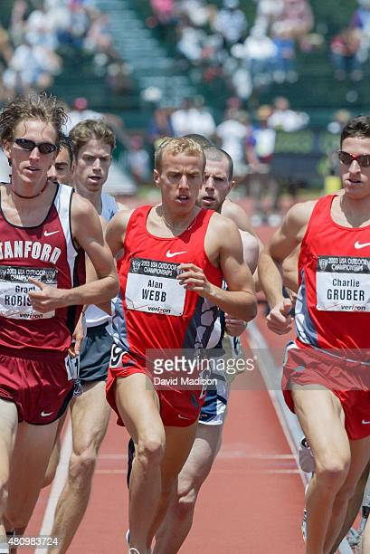 Alan Webb of the USA runs in the final of the Men's 1500 meter event at the 2003 USA Track and Field Outdoor Championships on June 22, 2003 at...
