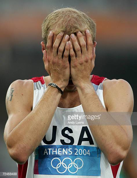 Alan Webb of USA reacts after the men's 1500 metre event on August 20, 2004 during the Athens 2004 Summer Olympic Games at the Olympic Stadium in the...