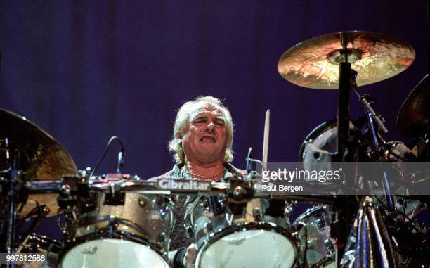 Alan White drummer of British progressive rock band Yes performs in Ahoy Rotterdam Netherlands 24 July 2003