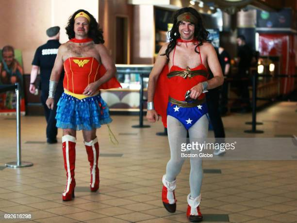 Alan White, left, and Josh Dejesus are pictured in costume in the lobby at the AMC Boston Common Theatre in Boston on Jun. 1 opening night of the new...