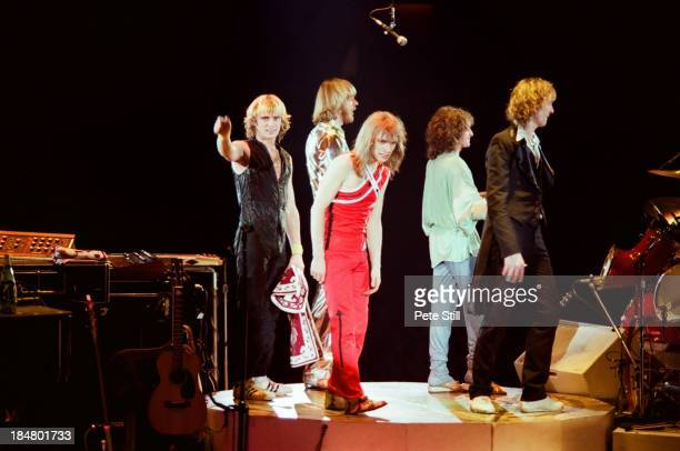 Alan White Rick Wakeman Steve Howe Jon Anderson and Chris Squire of Yes take a final bow after their performance on stage at Wembley Arena on October...