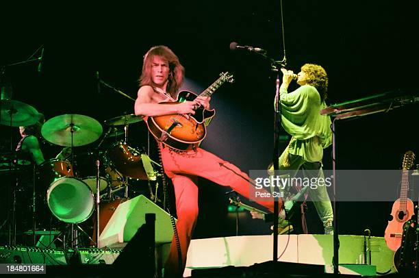 Alan White Steve Howe and Jon Anderson of Yes perform on stage at Wembley Arena on October 28th 1978 in London England