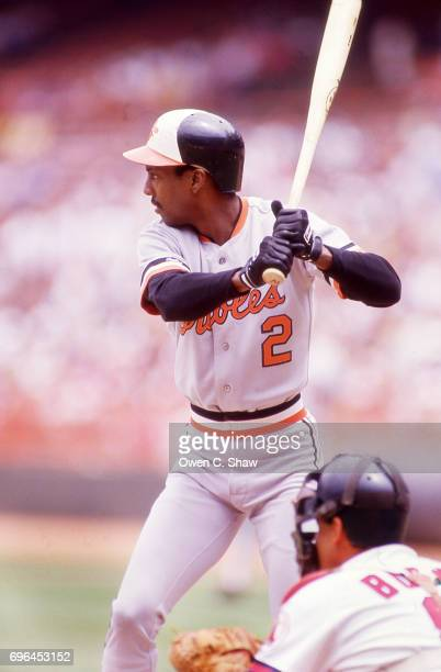 Alan Wiggins of the Baltimore Orioles bats against the California Angels at the Big A circa 1986 in Anaheim California