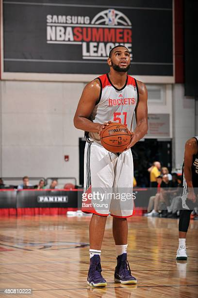 Alan Williams of the Houston Rockets attempts a free throw against the Milwaukee Bucks on July 15 2015 at The Cox Pavilion in Las Vegas Nevada NOTE...