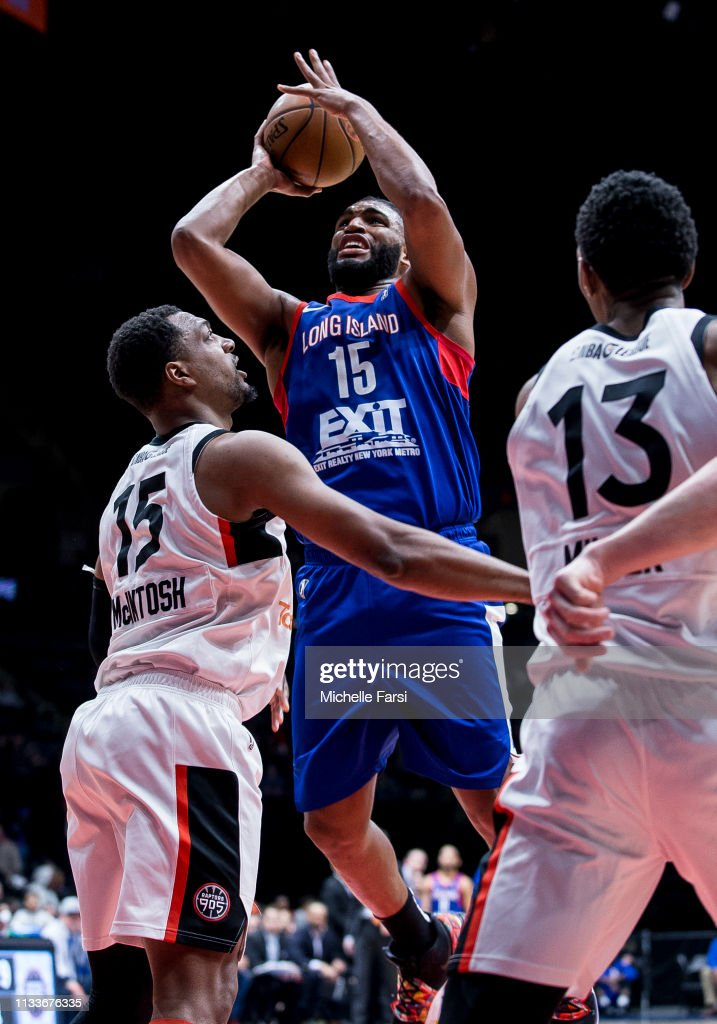 7a2ed5d37bd Alan Williams of the Long Island Nets shoots against MiKyle-McIntosh ...