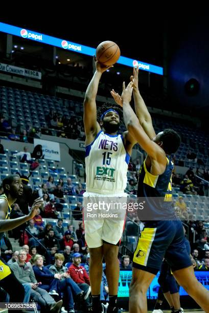 Alan Williams of the Long Island Nets shoots the ball against the Fort Wayne Mad Ants on December 7 2018 at Allen County War Memorial Coliseum in...