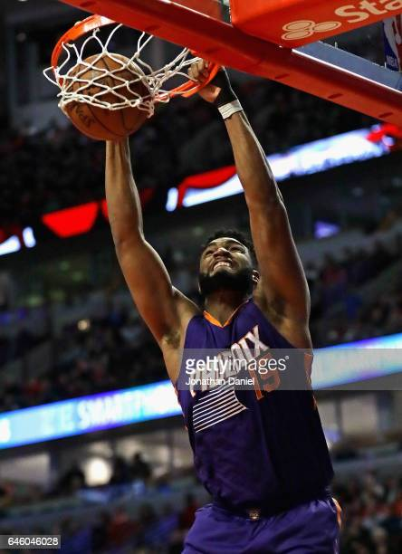 Alan Williams of the Phoenix Suns dunks against the Chicago Bulls at the United Center on February 24 2017 in Chicago Illinois The Bulls defeated the...