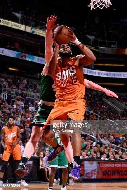 Alan Williams of the Phoenix Suns goes for a lay up during the game against the Boston Celtics on March 5 2017 at US Airways Center in Phoenix...