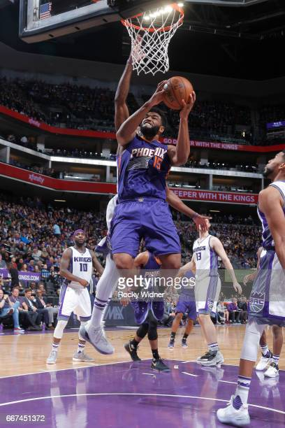 Alan Williams of the Phoenix Suns goes to the basket against the Sacramento Kings on April 11 2017 at Golden 1 Center in Sacramento California NOTE...
