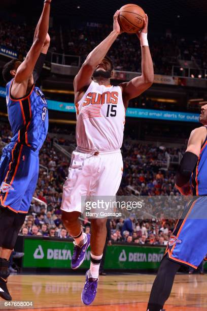 Alan Williams of the Phoenix Suns goes to the basket against the Oklahoma City Thunder on March 3 2017 at Talking Stick Resort Arena in Phoenix...