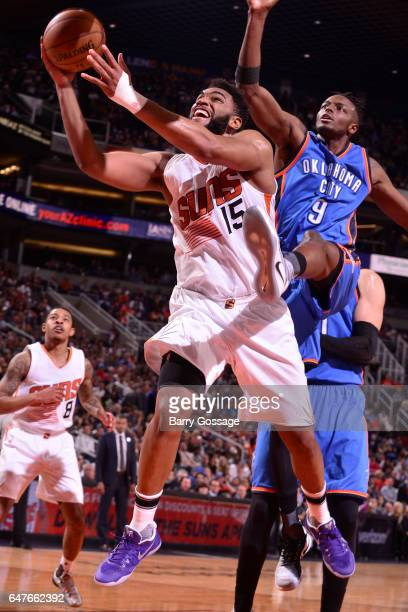 Alan Williams of the Phoenix Suns goes up for a lay up against the Oklahoma City Thunder on March 3 2017 at Talking Stick Resort Arena in Phoenix...