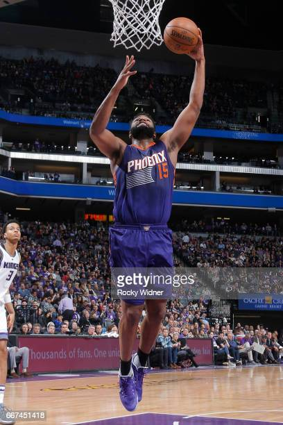 Alan Williams of the Phoenix Suns shoots a lay up against the Sacramento Kings on April 11 2017 at Golden 1 Center in Sacramento California NOTE TO...